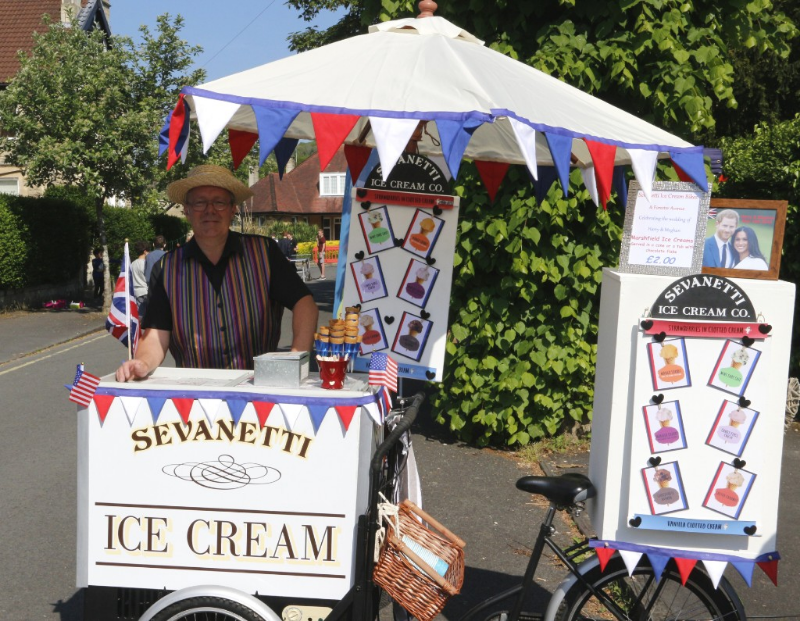 alt=ice cream bike with vendor