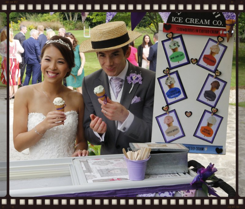 alt=bride and groom eating ice cream