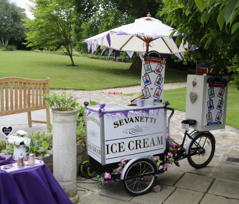 alt=ice cream bike with purple bunting