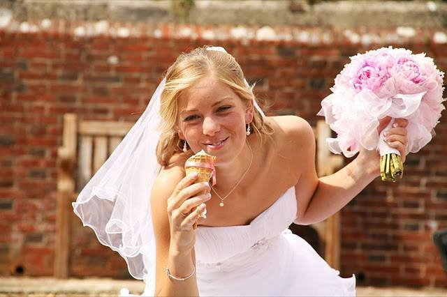 alt=bride eating ice cream